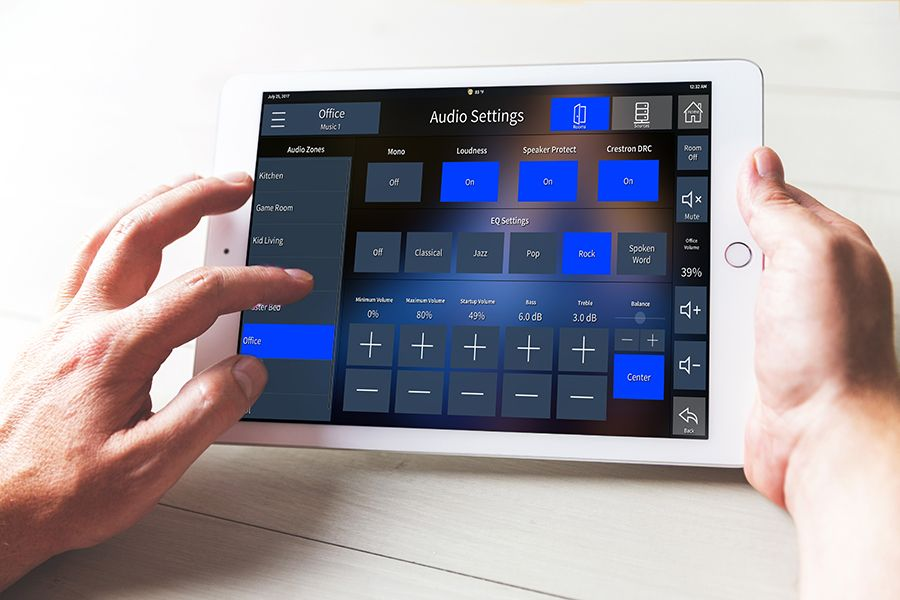 Tablet with Adapt for Crestron audio settings user interface